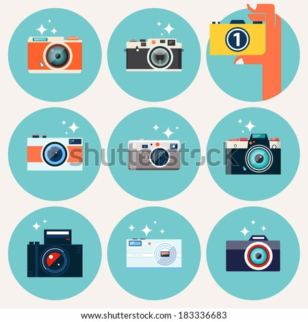Photo camera icons set in flat style. Flat design vector stylish illustration with modern colors. Isolated on stylish background. Set 1.