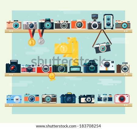 Photo camera icons set on the shelf in flat style. Flat design vector stylish illustration in modern colors. Isolated on stylish background.