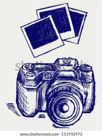 Photo camera illustration. Doodle style