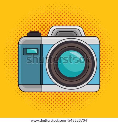 photo camera pop art icon design graphic