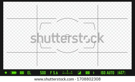 Photo camera realistic viewfinder overlay with image settings and autofocus points. 16:9 full hd format of frame template. DSLR professional camera frame vector template on transparent background.