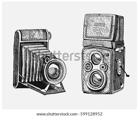 Photo Camera Set Vintage Engraved Hand Drawn In Sketch Or Wood Cut Style Old
