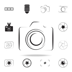 Photo camera silhouette logo icon with shadow. Set of Photo elements icon. Camera quality graphic design collection icons for websites, web design, mobile app on white background
