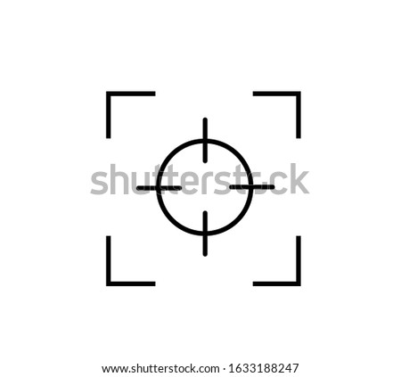 Photo camera viewfinder. Isolated vector sign symbol. Screen photography frame. Focus line in abstract style. Focus vector line icon. EPS 10
