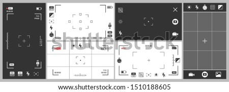 Photo camera viewfinder. Video recording, smartphone photography app ui and adjustment focus frame. Exposure settings, manual photo focus zoom and cinematography record frame isolated vector set