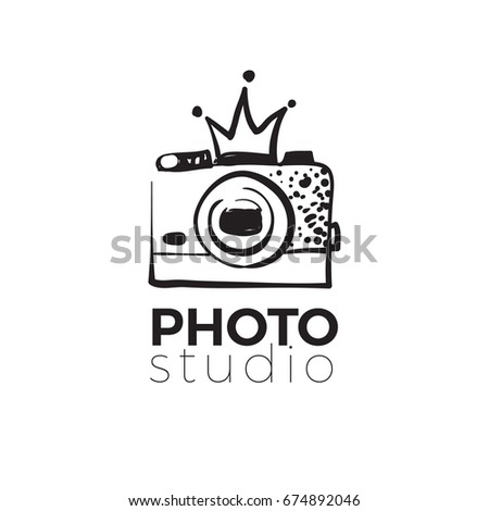 Photo camera with crown. Photography and photo studio hand drawn logo black color sketch. Vector design element, business sign, logo, identity, label, badge for business. Vector illustration