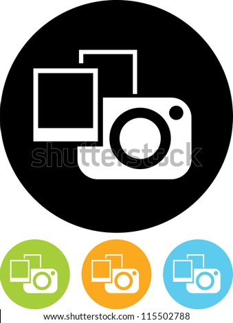 Photo camera with photographs - Vector icon isolated