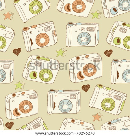 photo cameras seamless pattern