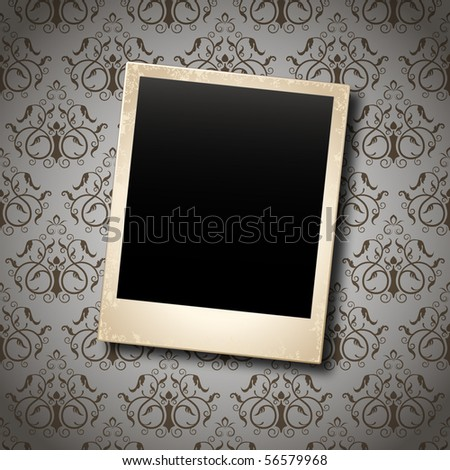 photo card on floral damask background
