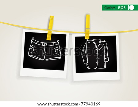 Photo cards of clothes drying on rope