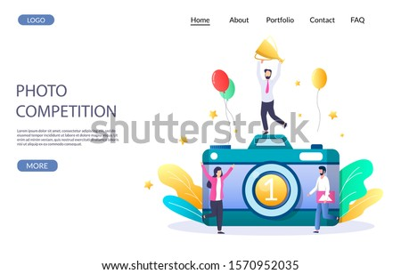 Photo competition vector website template, web page and landing page design for website and mobile site development. Photography contest winner micro male character with cup standing on huge camera.