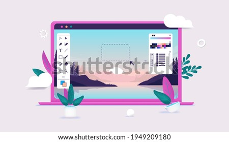 Photo editing on laptop computer - Photo editor software with user interface and beautiful landscape image in editable 3d vector illustration. Photo stock ©