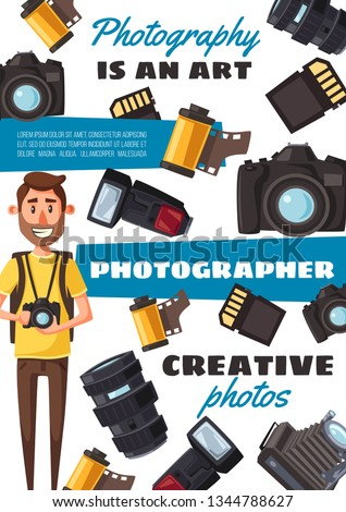 Photo equipment and photographer, vector. Camera and film, lens and flashlight, memory card. Journalist profession, vacancy and hiring, career and creative photography, paparazzi or photocorrespondent
