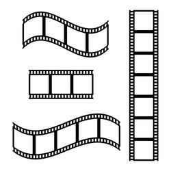 Photo film strip frame set, video tape, black isolated on white background, vector illustration.