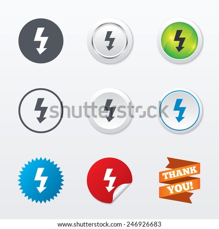 Photo flash sign icon. Lightning symbol. Circle concept buttons. Metal edging. Star and label sticker. Vector