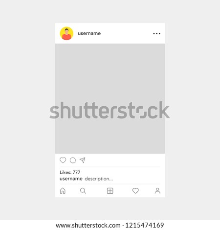Photo frame by instagram template. Social network concept. Vector illustration. #1215474169