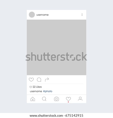 Photo frame by instagram template. Social network concept. Vector illustration