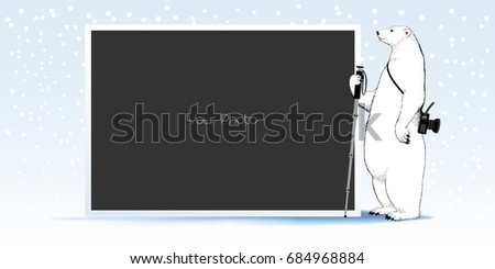 photo frame collage scrapbook for winter or christmas vector illustration cute pole bear design