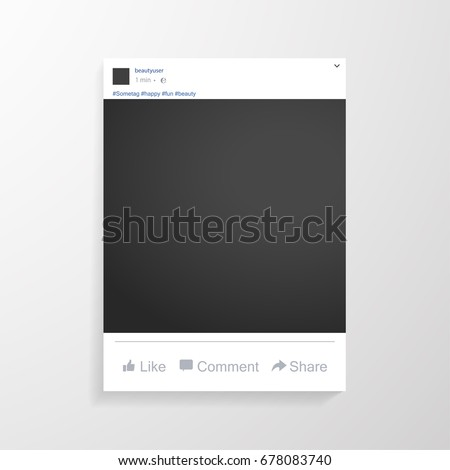 Photo frame for friends internet sharing inspired by facebook. Blank dark frame. Vector template