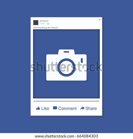 Photo frame inspired by facebook for friends internet sharing. Vector template