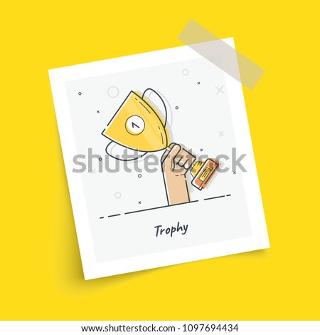 Photo frame on sticky tape with gold cup in hands. Hand holding winner's trophy award. Trendy flat vector on yellow background. Vector Illustration.