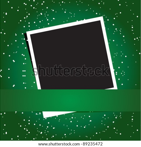 Photo frame on the snowflake background. Christmas concept