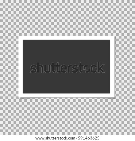 Photo frame on transparent background. Vector template, blank for your trendy and cute photo or image