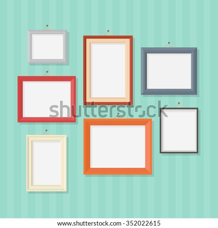 Photo frame on wall in a flat style  isolated on a background. Blank photo frame vector illustration.
