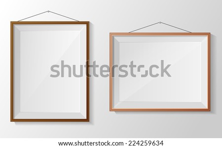b35e634361e ... Photo frame on white wall. Vector · Silver ...