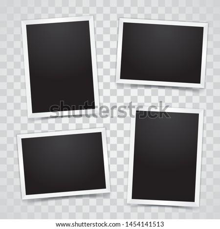 Photo Frame Set Mockup Vector With Transparent Background