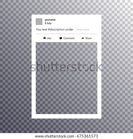 photo frame. Social network photo frame vector illustration. Vector illustration Isolated on transparent background.