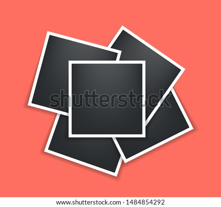 Photo frame. Square Polaroid frame template with shadows isolated on living coral background. Vector illustration