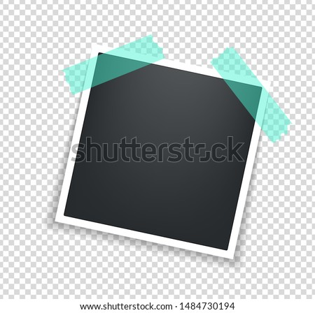 Photo frame. Square polaroid frame template with shadows isolated on transparent background. Vector illustration