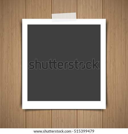 Photo frame stick on vintage wooden texture. Vector illustration