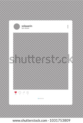 Photo frame vector illustration a transparent background. Instagram. Instagram interface. Instagram frame.