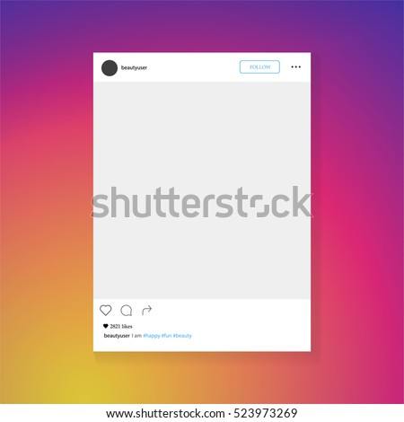 Photo frame vector illustration. Social network post frame.