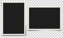 Photo frame. White plastic border on a transparent background. Vector illustration.