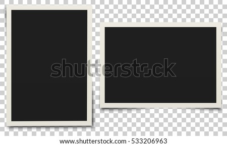 Shutterstock Photo frame. White plastic border on a transparent background. Vector illustration.