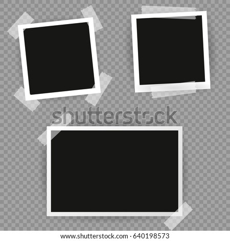 Photo frame. White plastic border on a transparent background. Vector illustration Foto stock ©