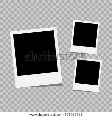 Photo frame. White plastic border on a transparent background. Vector illustration. Photorealistic Vector EPS10 Retro Photo Frame Template