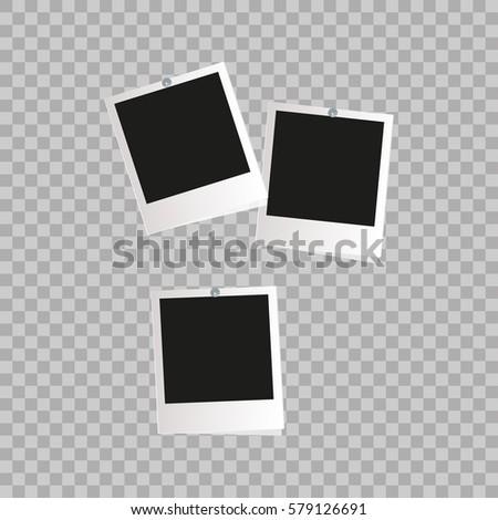 Photo frame. White plastic border on a transparent background. Vector illustration. Photorealistic Vector EPS10 Retro Photo Frame Template #579126691
