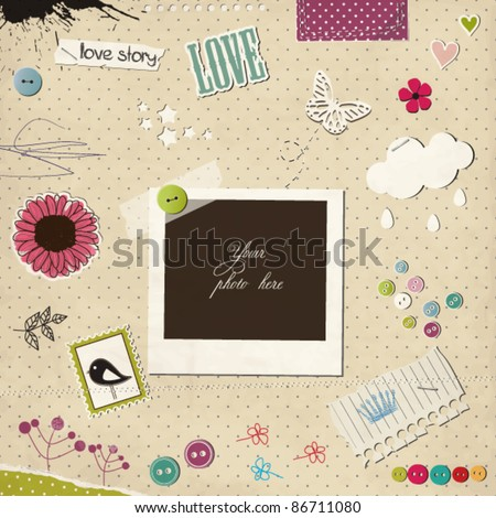 Photo frame with elements