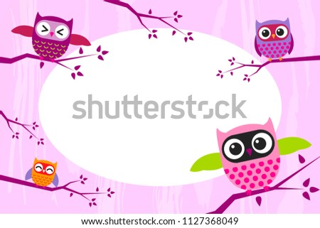 Photo frame with funny owls