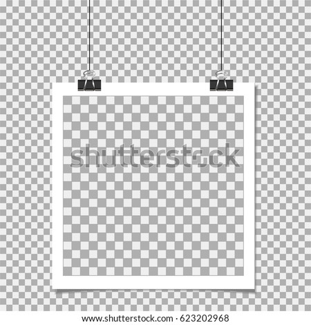 Photo frame with pin on isolate background. Template, blank for photo or image