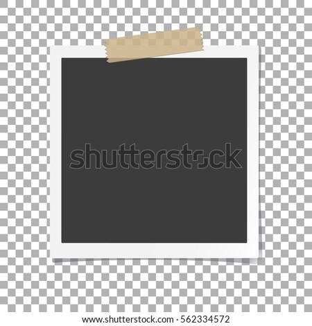 Photo Frame with shadow on Adhesive Sticky Tape, on isolate background, vector template for your stylish photos or images, EPS10