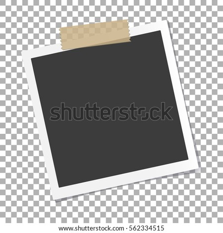 Photo frame with shadow on isolate background, vector template for your stylish photos or images, EPS10