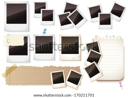 Photo frames and paper notes collection isolated on white background for you Design, VECTOR