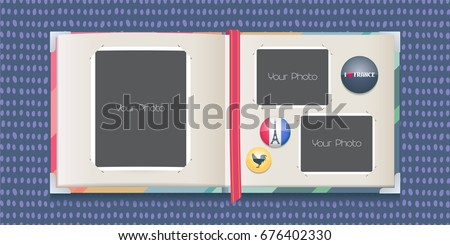 Photo frames collage or scrapbook with borders vector illustration. Template design for travel to France photo album