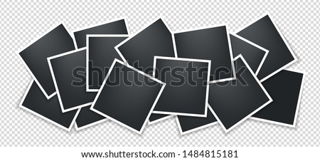 Photo frames collage. Square Polaroid frame template with shadows isolated on transparent background. Vector illustration