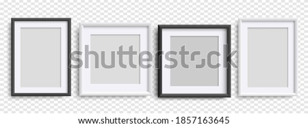 Photo Frames isolated, realistic black, white frames mockup, vector set . Empty vertical picture frame, A4,  square frames. Vector template for picture, painting, poster, lettering or photo gallery